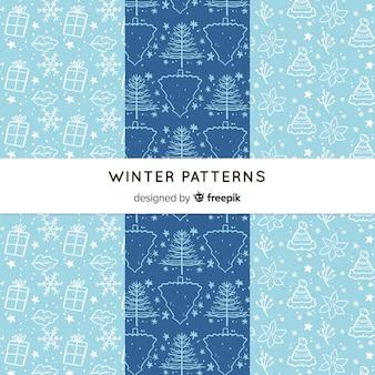 손으로 그린 겨울 패턴 컬렉션