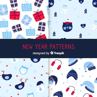 Hand drawn winter pattern collection