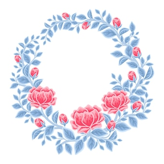 Hand drawn winter peony floral frame and wreath arrangement