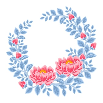 Hand drawn winter peony flower frame and wreath arrangement
