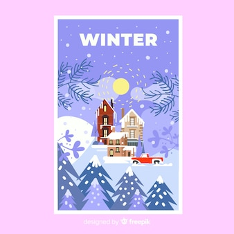 Hand drawn winter poster template