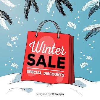 Hand drawn winter sale background