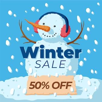 Hand drawn winter sale banner concept