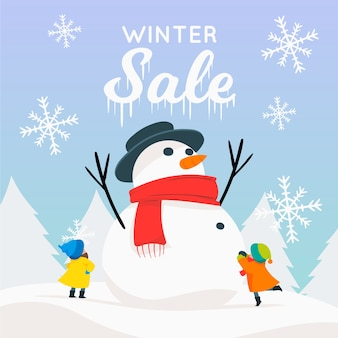 Hand drawn winter sale banner concept