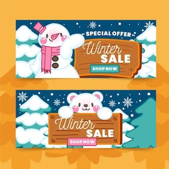 Collezione di banner di vendita invernale disegnata a mano