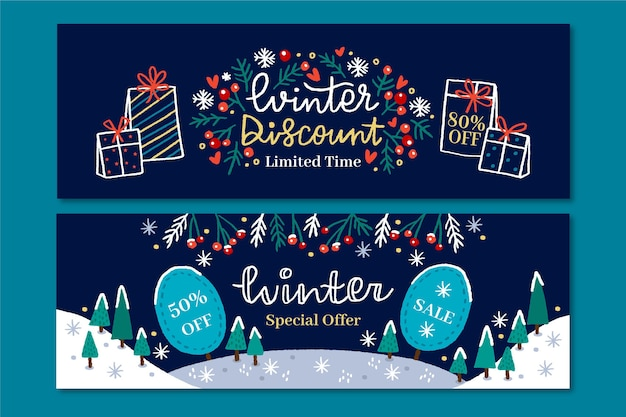 Hand drawn winter sale banners set