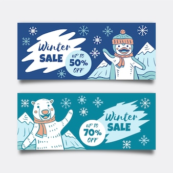 Hand-drawn winter sale banners