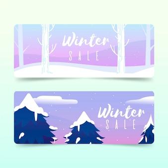 手描きの冬のセールバナー
