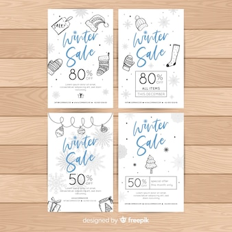 Hand drawn winter sale cards
