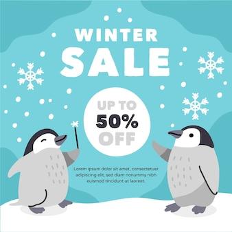 Hand drawn winter sale concept
