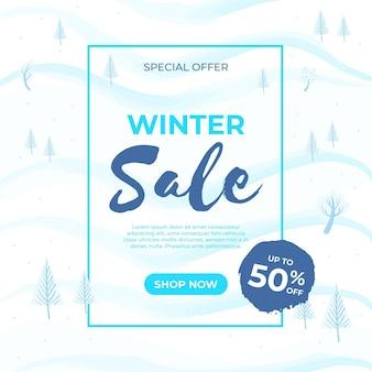 Offerta di vendita invernale disegnata a mano