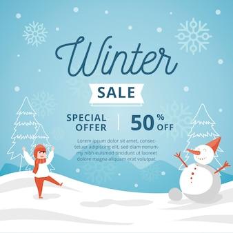 손으로 그린 겨울 판매 홍보 그림