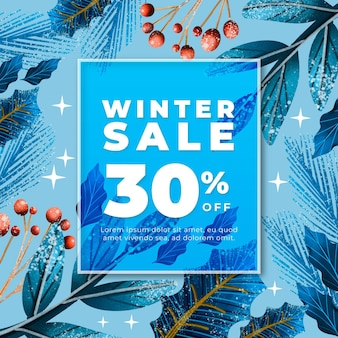 Рисованная зимняя распродажа