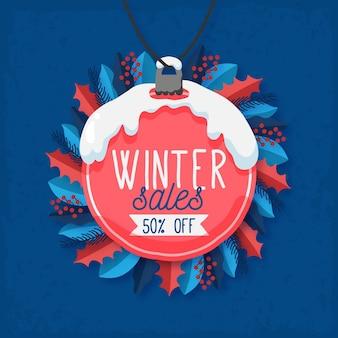 손으로 그린 크리스마스 공 및 미 슬 토와 겨울 판매