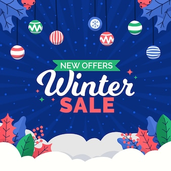 Hand drawn winter sales with christmas balls