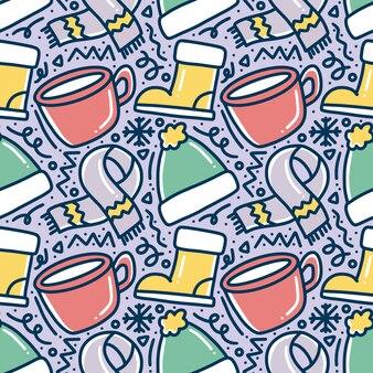 아이콘 및 디자인 요소와 세트의 손으로 그린 겨울 시즌 낙서 패턴