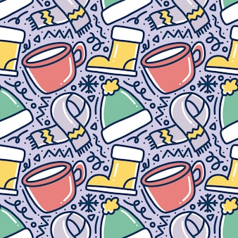 Hand drawn winter season doodle pattern with icons and design elements