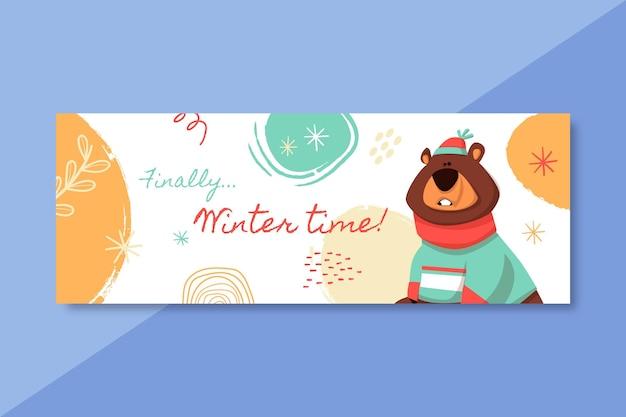 Modello di post social media invernale disegnato a mano con orso