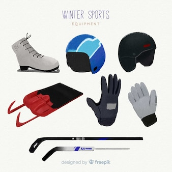 Hand drawn winter sport equipment