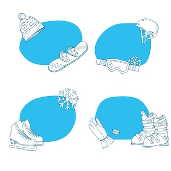 Hand drawn winter sports equipment stickers collection