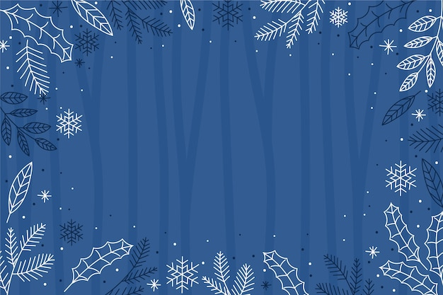 Hand drawn winter wallpaper with empty space