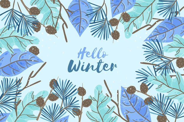 Hand drawn winter wallpaper with hello winter message