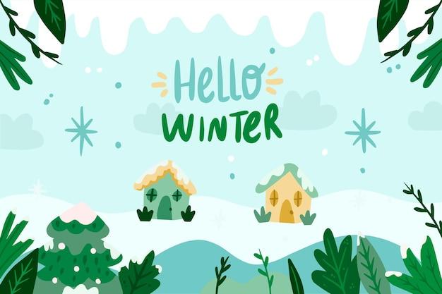 Carta da parati invernale disegnata a mano con ciao testo invernale