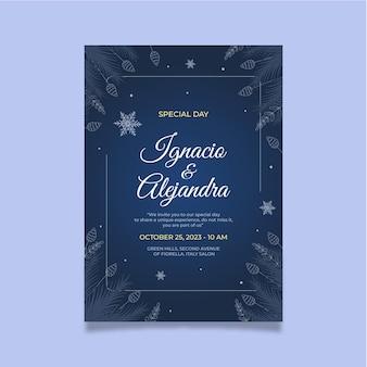 手描きの冬の結婚式の招待状のテンプレート