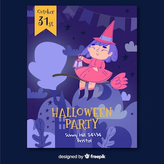 Hand drawn witch halloween party flyer template