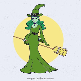 Hand drawn witch with broom