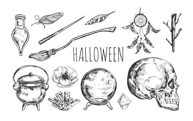 Hand drawn witchcraft halloween collection