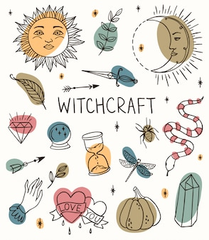 Hand drawn witchcraft set with magic tools: crystal, ball, knife, sun crescent, branch, pumpkin. outline doodle with colored spots.