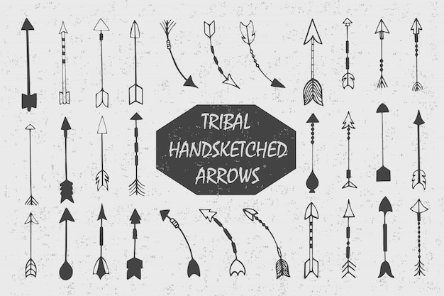 Hand drawn with ink tribal vintage set with arrows. ethnic illustration, american indians traditional symbol.