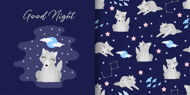 Hand drawn wolf cartoon with seamless patterns set