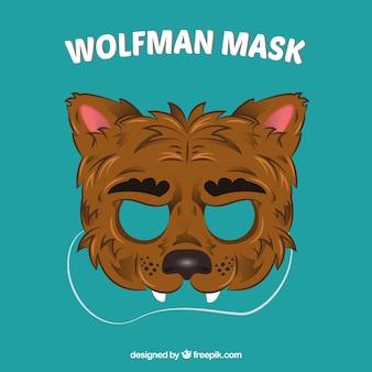 Hand drawn wolf mask