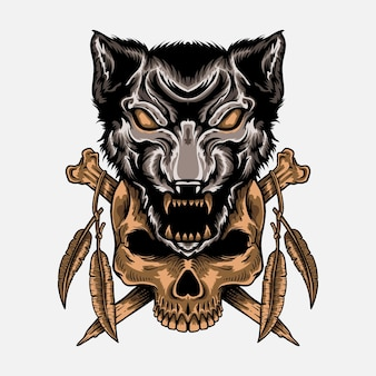 Hand drawn wolf with skull t shirt design engraving style isolated decoration