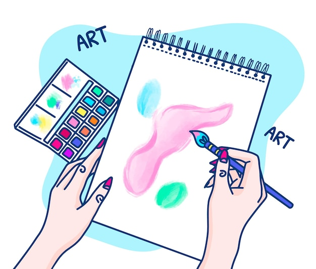 Нарисованная рукой женщина-художник рисует на блокноте с концепцией акварели