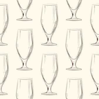Hand drawn woman beer glass seamless pattern. engraving style.