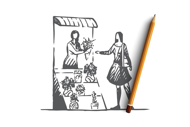 Hand drawn woman buys flowers in a stall concept sketch