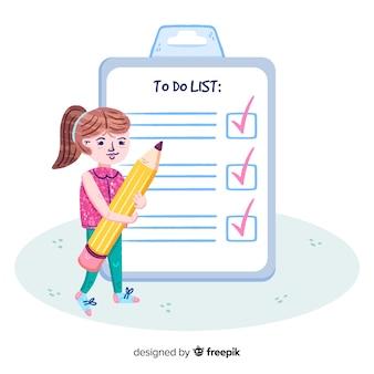 Нарисованная рукой женщина проверяя гигантскую предпосылку контрольного списка