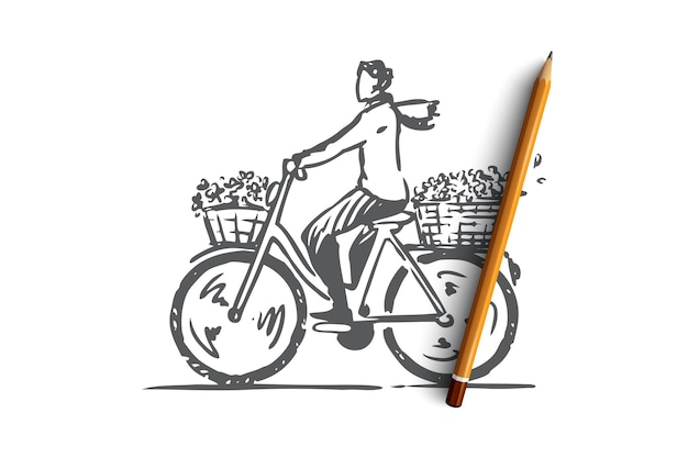 Hand drawn woman on cycling on bike concept sketch Premium Vector