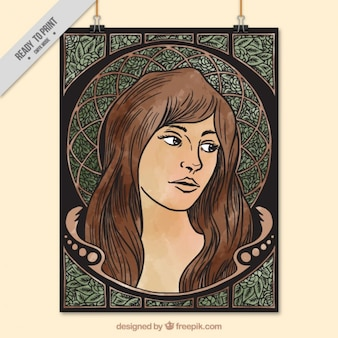 Hand drawn woman decorative poster in art nouveau style