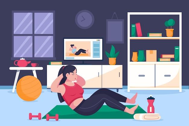 Нарисованная рукой женщина делает онлайн-спортивные занятия