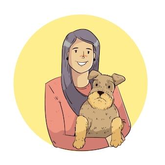 かわいい犬を保持している手描きの女性