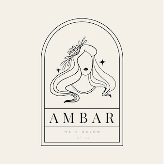 Шаблон логотипа рисованной женщины