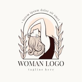 手描きの女性のロゴのテンプレート