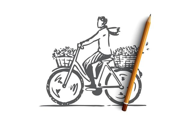 자전거 개념 스케치에 자전거에 손으로 그린 된 여자