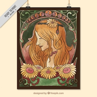 Hand drawn woman poster in art nouveau