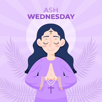 Hand drawn woman praying in ash wednesday illustration