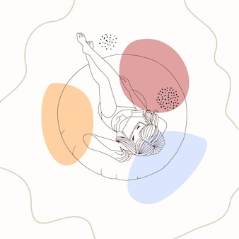 ライン アート スタイルを使用して、プールで浮き輪を使ってリラックスした手描きの女性